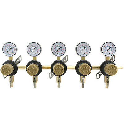 5-Way Secondary Air Regulator - Polycarbonate Bonnet - CO2 to 5 Draft Beer Kegs!