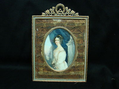 Very Unique Antique Hand Painted Plaque with Metal Frame