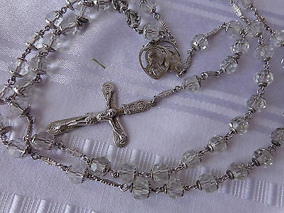 """VTG STERLING SILVER CLEAR CRYSTAL BEADS CATHOLIC CHURCH HOLY ROSARY 24"""""""