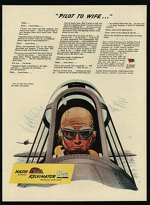 1944 WWII - U.S. Army Aircorp Fighter Pilot - Airplane - NASH - VINTAGE AD