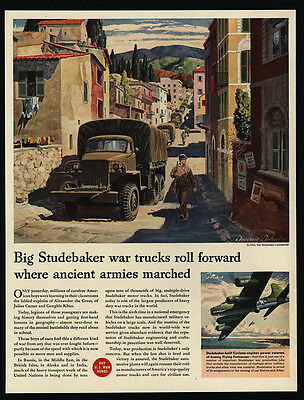 1944 WWII - STUDEBAKER - Army - Trucks - Soldiers - FELLANDER Art - VINTAGE AD