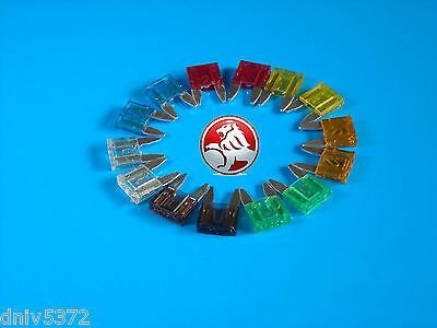 14 Spare Mini Blade Fuses for Holden Commodore Berlina Calais SS HSV VT VX VY VZ