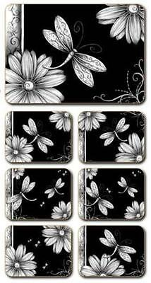 Black & White Dragonfly Placemats & Coasters x 6 By Lisa Pollock New great gift