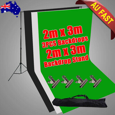 Photography Large 2x3m Black White Green Backdrops Background Support Stand Kit