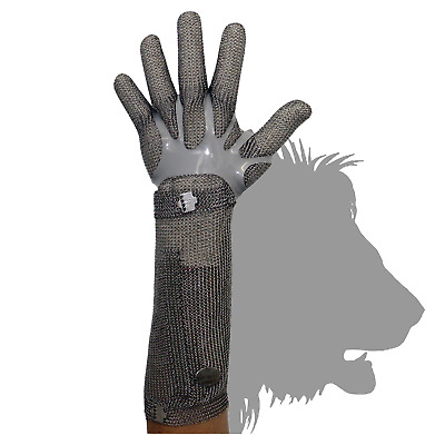 Stainless Steel Chain Mesh Glove - Full Hand+20cm Cuff, Claw Clasp (CAT 127C*LC)