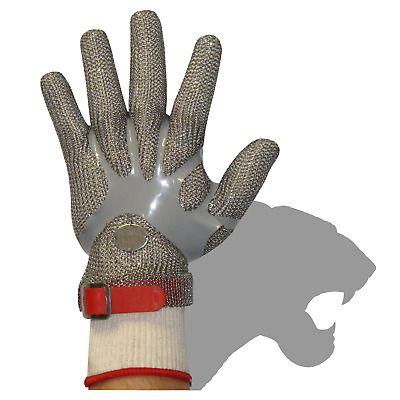 Stainless Steel Chain Mesh Glove - Full Hand, Polyethylene Strap (CAT 127P*)