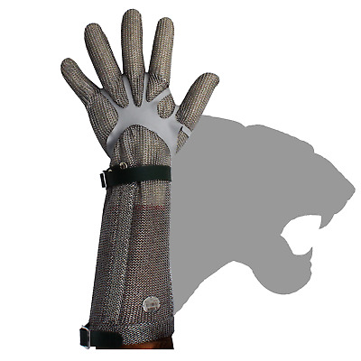 Stainless Steel Chain Mesh Glove - Full Hand + 20cm Cuff, PE Strap (CAT 127P*LC)