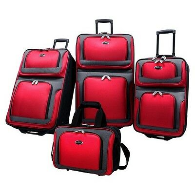 U.S. Traveler New Yorker 4 Piece Expandable Luggage Set, Red