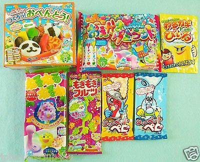 7 PCS SET Japanese Candy Kit Kracie, Meiji popin cookin Obento Lunch Box Gummy
