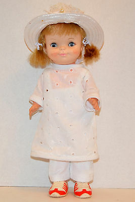 """Vintage 1966 Effenbee 13"""" Doll Sleepy Eyes White Outfit Hat Shoes"""