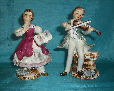 Vintage Pair of Artmark Victorian Man & Woman -  Japan Handpainted