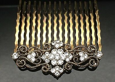 Vintage Hair Comb Clip Diamante Formal Wedding Crystal Gold Rhinestone 5.2cm