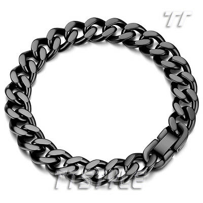 Quality Polished TT 11mm Width 316L Stainless Steel Chain Bracelet 3 Colors NEW