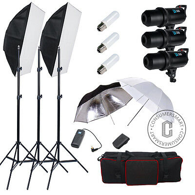 Photo Studio 900W LED Display Flash Strobe Soft Box Lighting Stand Umbrella Kit