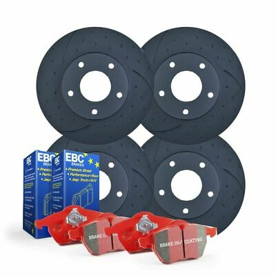 FULL-SET DIMPLED SLOTTED Holden Commodore VE VF V6 DISC BRAKE ROTORS + EBC PADS