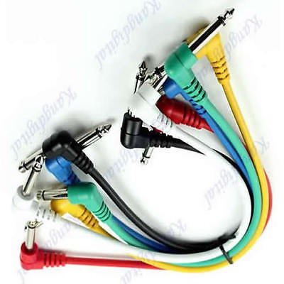 1 Set  Angled 6 Pack Plug Leads Patch Cables For Guitar Pedal Effect Color Coded