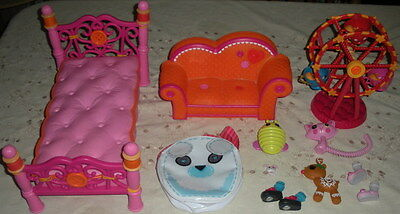 LOT LaLaLoopsy  Full Size Doll COUCH & BED Pet Reindeer SHOES Mini FERRIS WHEEL