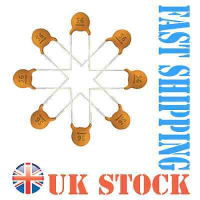 50 x Ceramic Disc Capacitor choice of 40 values ,UK stock and fast delivery!