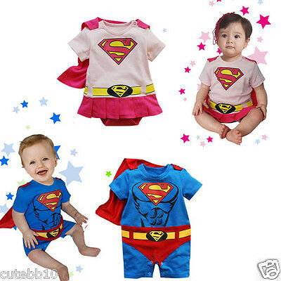 7c769002904a BABY BOY SUPERMAN Supergirl Fancy Dress Costume Babygrow Outfit 6 ...