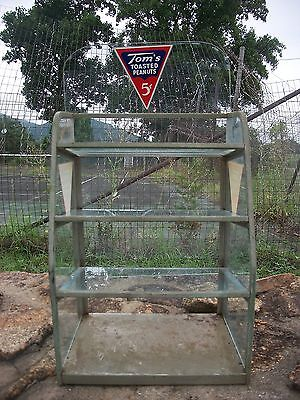 Vintage TOM'S TOASTED PEANUTS DISPLAY RACK 1930s-1940s 3 glass shelves & backing