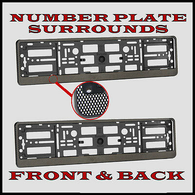 2x Number Plate Surrounds Holder Carbon for Abarth Punto Evo