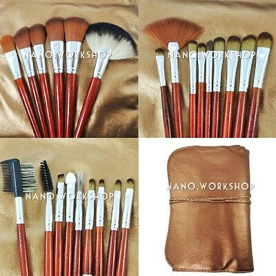 24pcs Soft Cosmetic Eyebrow Shadow Makeup Brush Set Kit Pouch Case Bag NEW 407C