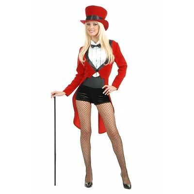 ADULT WOMENS LADY RED TUXEDO TAILCOAT CIRCUS SWEETIE RINGMASTER COSTUMES