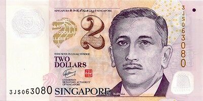 SINGAPORE 2006 ND ISSUE  2 DOLLAR  BANK NOTE in Protective Sleeve  $2