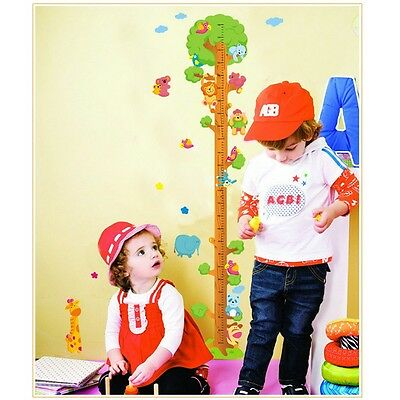 Animals Tree Removable Vinyl Wall Decal Decor Stickers Kids Height Chart Measure
