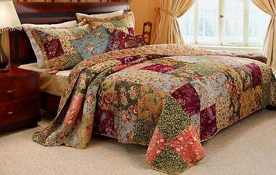 Beautiful Xxl Oversize Antique Green Maroon Rose Floral Bedspread Set New King