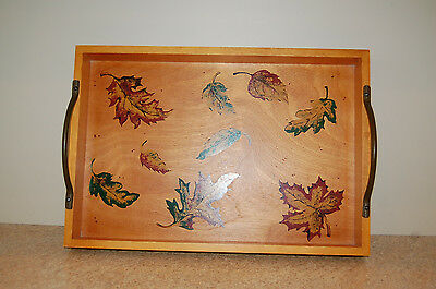 Wood Serving Tray Leaf Stencils Iron Handles Sturdy