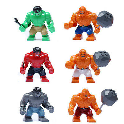 6 sets Green Hulk and Fantastic Four Big Thing Heroes MiniFigures Action figures
