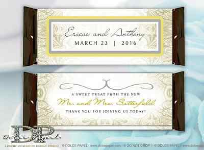 10 Yellow and Gray Paisley Design Custom Wedding Large Hershey Candy Bar Wrapper
