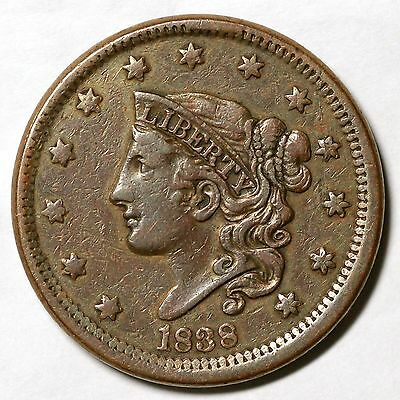 1838 N-14 One of 3 Known Int Die State Matron or Coronet Head Large Cent Coin 1c