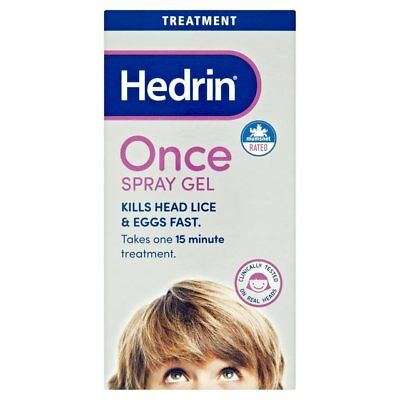 Hedrin Once Spray Gel Head Lice Treatment 15 Min 60Ml - Clinically Proven