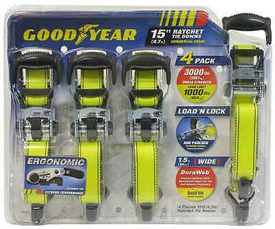 """Goodyear Heavy Duty Set of 4 Snap-On 1-1/2"""" Ratchet Tie Down Straps New"""