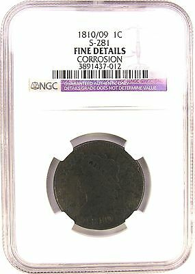 1810/09 Large Cent  Ngc F Details S-281 - Fresh Slab - Sale!
