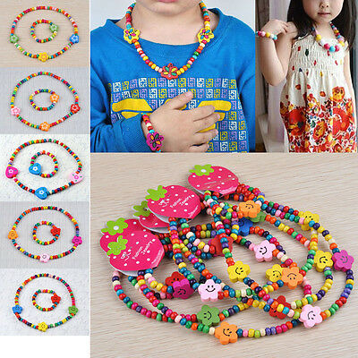 7Set Wholesale Colorful Wooden Bead Cute Children Necklace Bracelet Jewelry Set