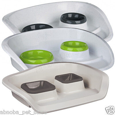 Plastic Bowl Dinner-Set with Splash Guard Non-Slip Feeder for Cats & Small Dogs
