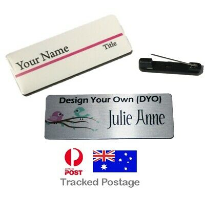 Personalised BUDGET NAME BADGE 8x3cm WORK BADGES PIN BACK logo custom made tag
