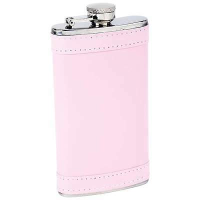 6oz Stainless Steel Hip Whiskey Flask Screw Cap Container Pink Faux Leather Wrap