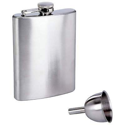 8 oz Solid Stainless Steel Pocket Hip Flask Screw Cap Small Free Filling Funnel