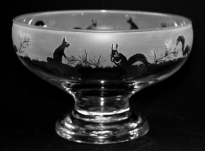 *SQUIRREL GIFT*  Boxed FOOTED GLASS BOWL with SQUIRREL FRIEZE