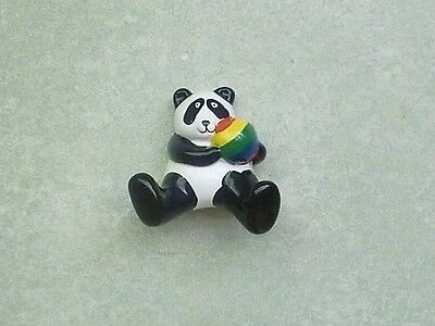 "1983 Omnibus Panda Hugging Ball Figurine Wall Decoration 3"" tall 3 1/2"" wide"