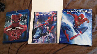 The Amazing Spider-Man 1 and 2, Marvel Comics, Blu-Rays and Mini Comic Book Lot