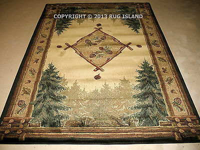 Lodge Log Cabin Pine Pinecone Forest Rustic Green Area Rug **FREE SHIPPING**
