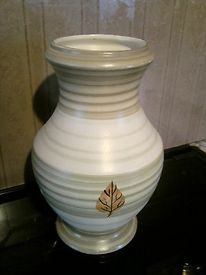 "A GOOD STAFFORDSHIRE POTTERY VASE WITH LEAF DESIGN No 1056 ON THE BASE 8"" HIGH"