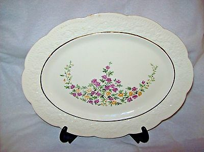 Edwin M Knowles China Co Scalloped Oval Floral Gold Trim Platter ~Vintage~RARE~