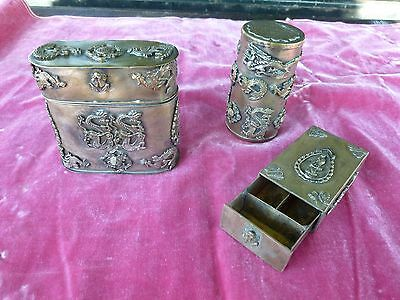 3 Antique Heavily Decorated  Tibetan  Containers And Buddhist Box All Marked