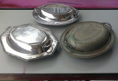 3 Vintage Silver Serving Dishes W Lids Wm Rogers, Sheffield England, Dinnerware